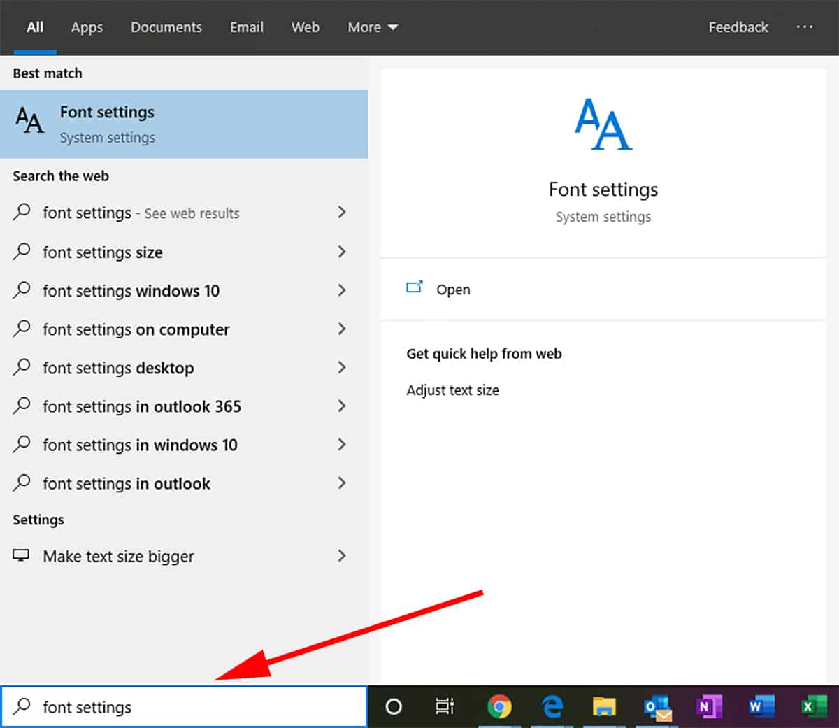 1. Open Font Settings Windows 10