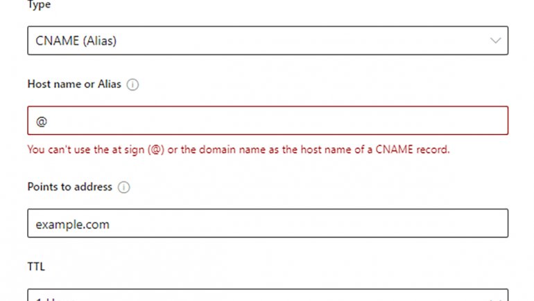 You can't use the at sign (@) or the domain name as the host name of a CNAME record.