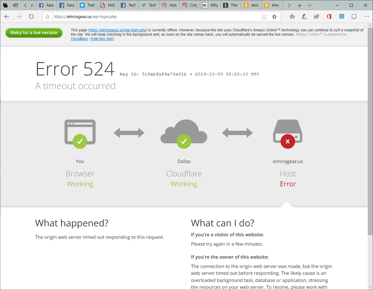 Cloudflare http error 524 Screenshot